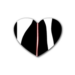 White, red and black Heart Coaster (4 pack)