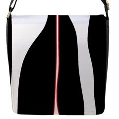 White, red and black Flap Messenger Bag (S)