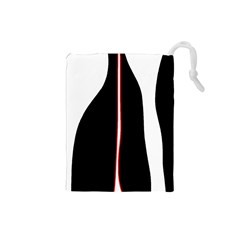 White, red and black Drawstring Pouches (Small)