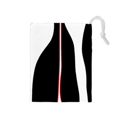 White, red and black Drawstring Pouches (Medium)