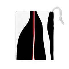 White, red and black Drawstring Pouches (Large)