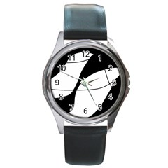 White and black shadow Round Metal Watch