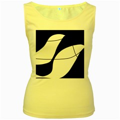 White and black shadow Women s Yellow Tank Top