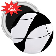 White and black shadow 3  Magnets (10 pack)