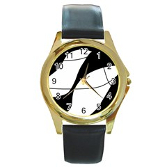 White and black shadow Round Gold Metal Watch