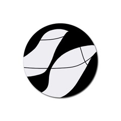 White and black shadow Rubber Coaster (Round)
