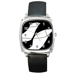 White and black shadow Square Metal Watch