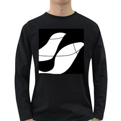 White and black shadow Long Sleeve Dark T-Shirts