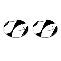 White and black shadow Cufflinks (Oval)