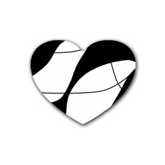 White and black shadow Heart Coaster (4 pack)