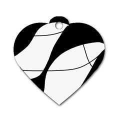 White and black shadow Dog Tag Heart (Two Sides)