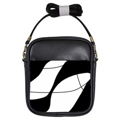 White and black shadow Girls Sling Bags