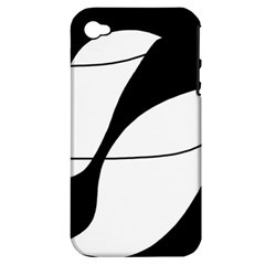 White and black shadow Apple iPhone 4/4S Hardshell Case (PC+Silicone)