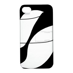 White and black shadow Apple iPhone 4/4S Hardshell Case with Stand