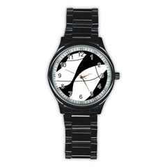 White and black shadow Stainless Steel Round Watch
