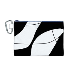 White and black shadow Canvas Cosmetic Bag (M)