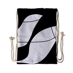 White and black shadow Drawstring Bag (Small)