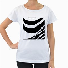 White or black Women s Loose-Fit T-Shirt (White)
