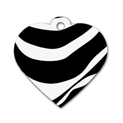 White or black Dog Tag Heart (One Side)