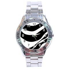 White or black Stainless Steel Analogue Watch