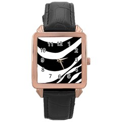 White or black Rose Gold Leather Watch