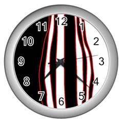White, red and black lines Wall Clocks (Silver)