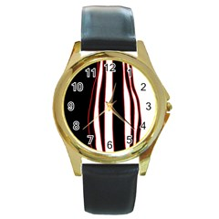 White, red and black lines Round Gold Metal Watch