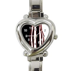 White, red and black lines Heart Italian Charm Watch