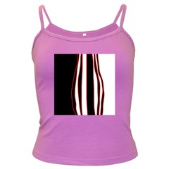 White, red and black lines Dark Spaghetti Tank