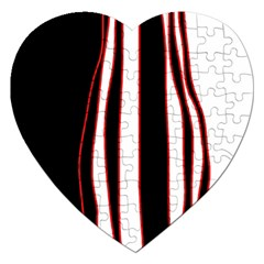 White, red and black lines Jigsaw Puzzle (Heart)