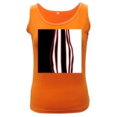 White, red and black lines Women s Dark Tank Top