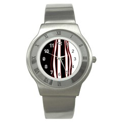 White, red and black lines Stainless Steel Watch