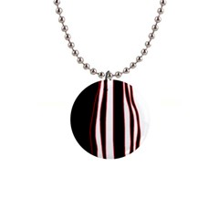 White, red and black lines Button Necklaces