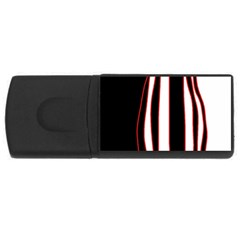 White, red and black lines USB Flash Drive Rectangular (4 GB)