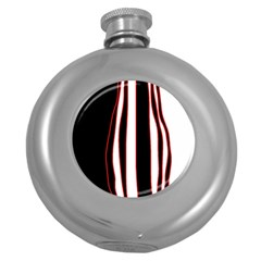 White, red and black lines Round Hip Flask (5 oz)