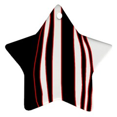 White, red and black lines Star Ornament (Two Sides)