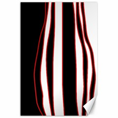 White, red and black lines Canvas 20  x 30
