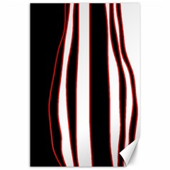 White, red and black lines Canvas 24  x 36