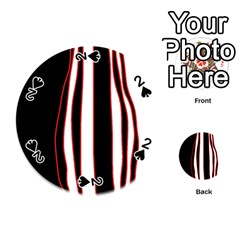 White, red and black lines Playing Cards 54 (Round)
