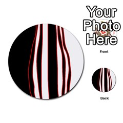 White, red and black lines Multi-purpose Cards (Round)