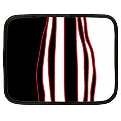 White, red and black lines Netbook Case (Large)