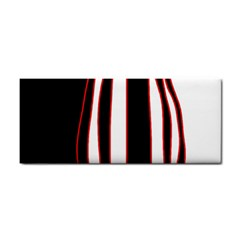 White, red and black lines Hand Towel