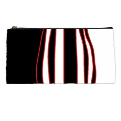 White, red and black lines Pencil Cases