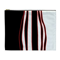 White, red and black lines Cosmetic Bag (XL)