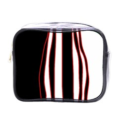 White, red and black lines Mini Toiletries Bags