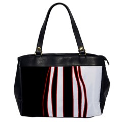 White, red and black lines Office Handbags