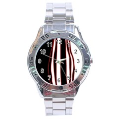 White, red and black lines Stainless Steel Analogue Watch