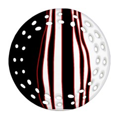 White, red and black lines Ornament (Round Filigree)