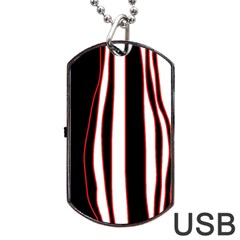 White, red and black lines Dog Tag USB Flash (One Side)