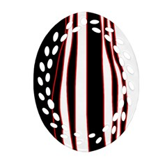 White, red and black lines Oval Filigree Ornament (2-Side)